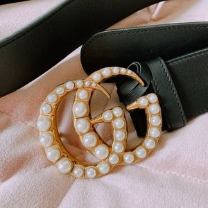 Authentic Gucci leather belt pearl double G — SOLD